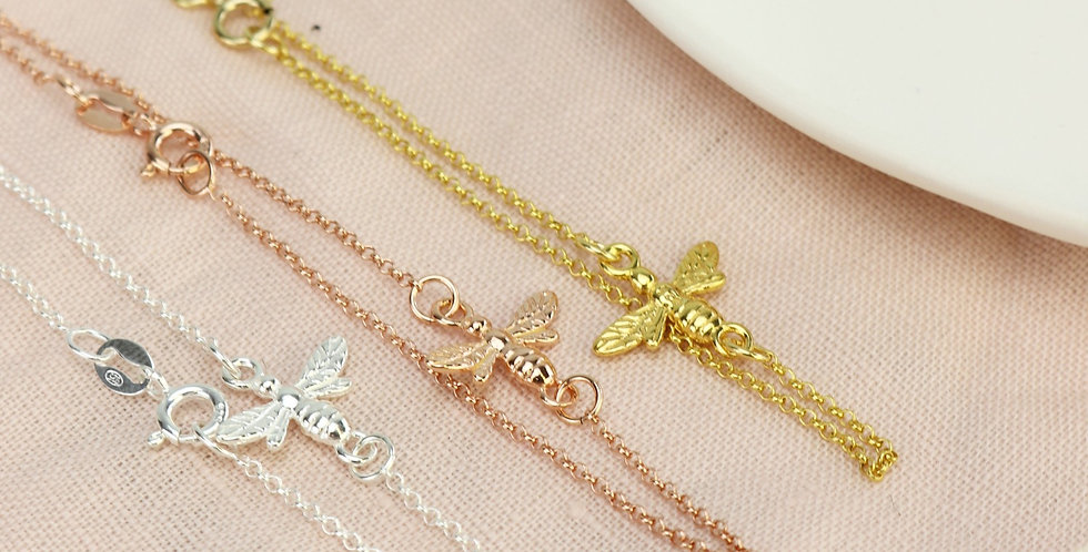 Honey Bee Bracelet - Choice of Sterling Silver, Rose Gold or Gold