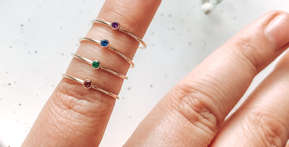 Gold Filled Skinny Birthstone Ring