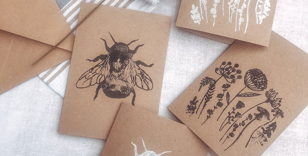 Hand Printed Kraft Greetings Card with Plantable Wildflower Seed Card