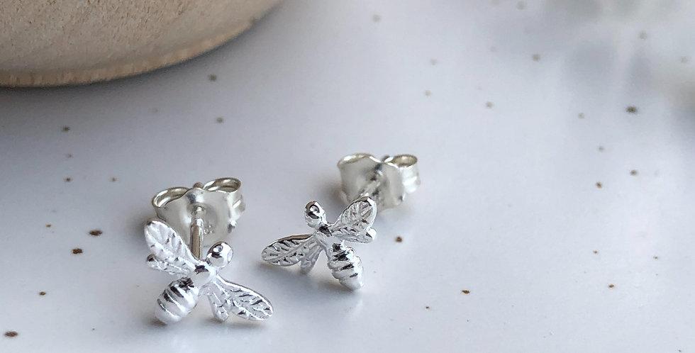Sterling Silver Tiny Honey Bee Stud Earrings