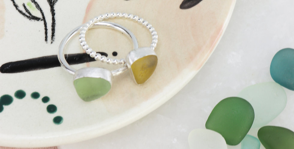 Sterling Silver Sea Glass Ring - Choose your stone