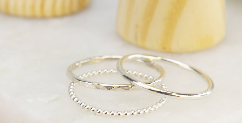 Sterling Silver Stacking Rings - Plain, Beaded or Hammered