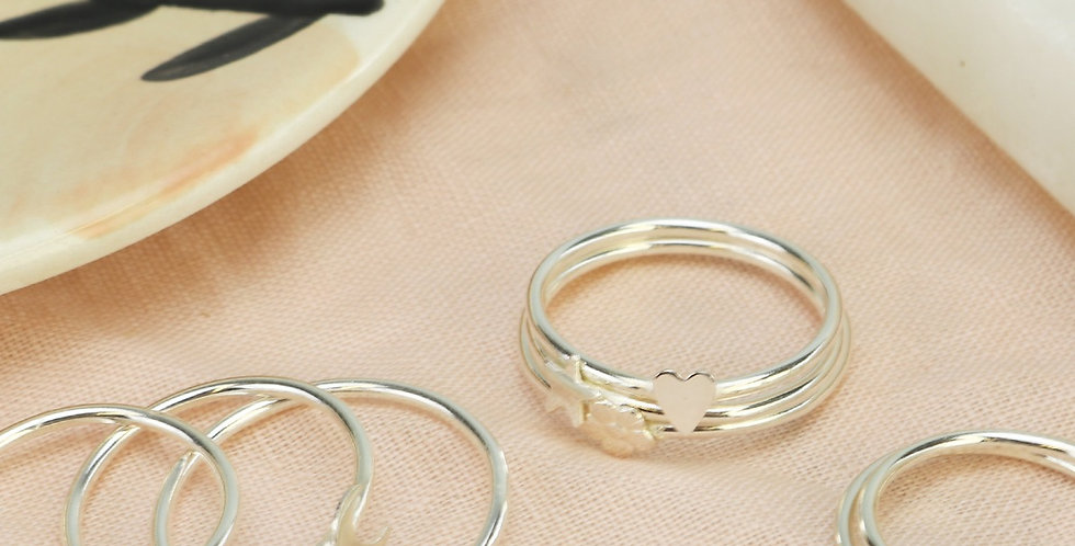 Sterling Silver Dainty Stacking Ring - Various Accent Choice
