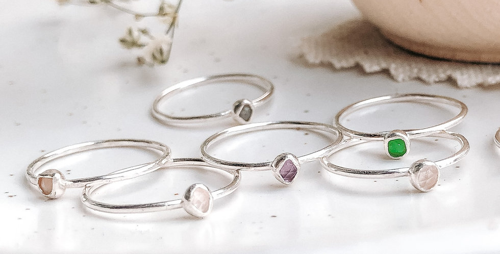 Sterling Silver Skinny Rough Set Gemstone Ring