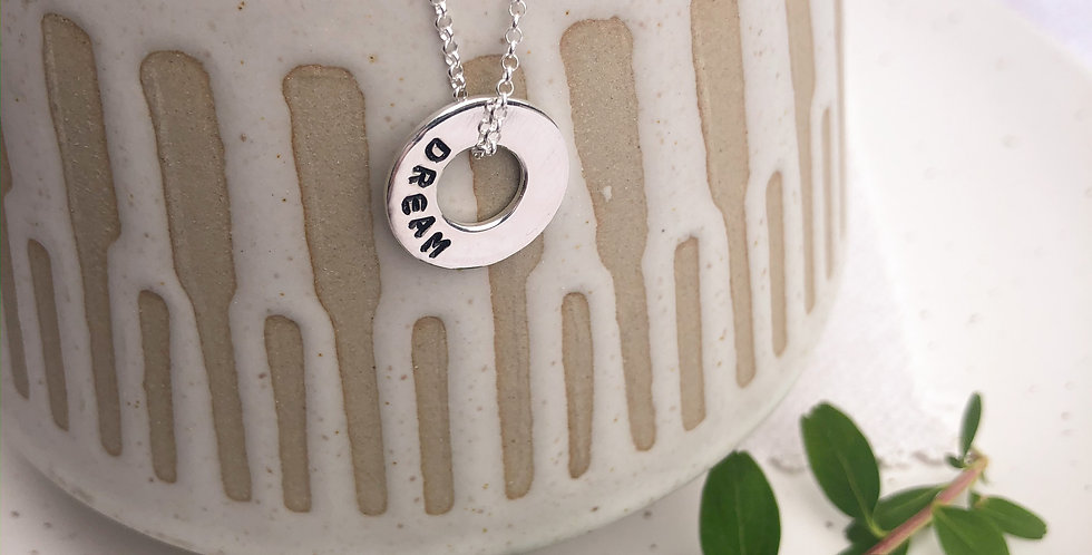 Sterling Silver Hand Stamped Mini Washer Name Necklace