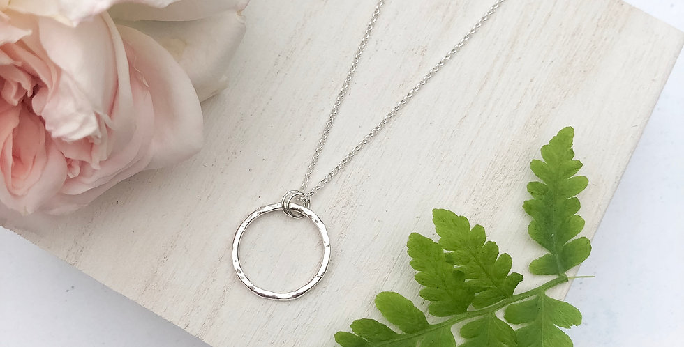 Hammered Sterling Silver Karma Circle Necklace