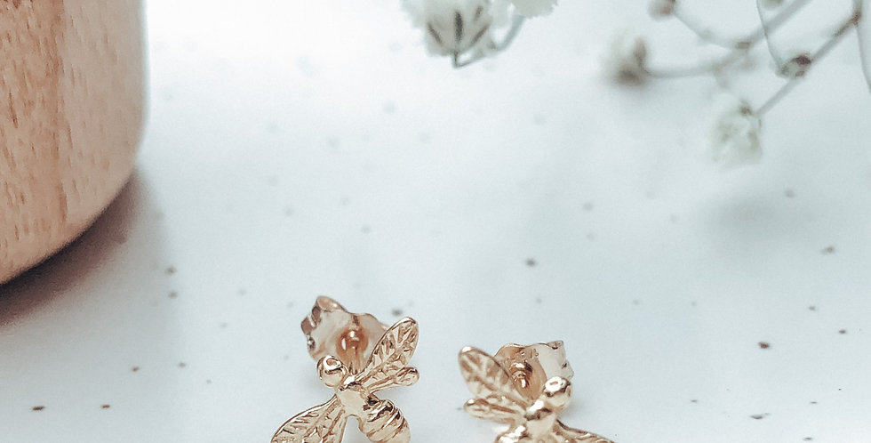24k Gold Plated Sterling Silver Bee Stud Earrings