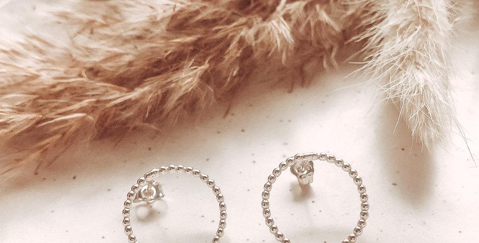 Sterling Silver Bobble Karma Circle Stud Earrings