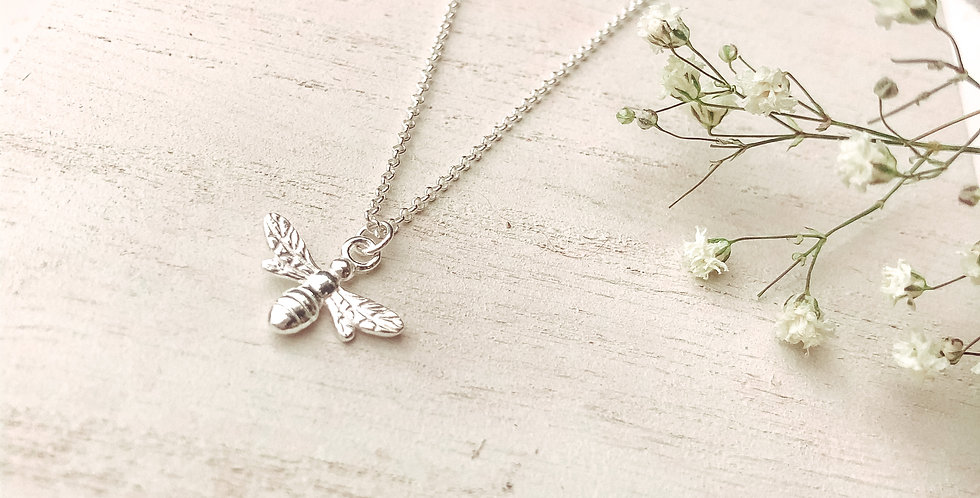 Sterling Silver Honey Bee Necklace With Hand Stamped Initial Disc Option