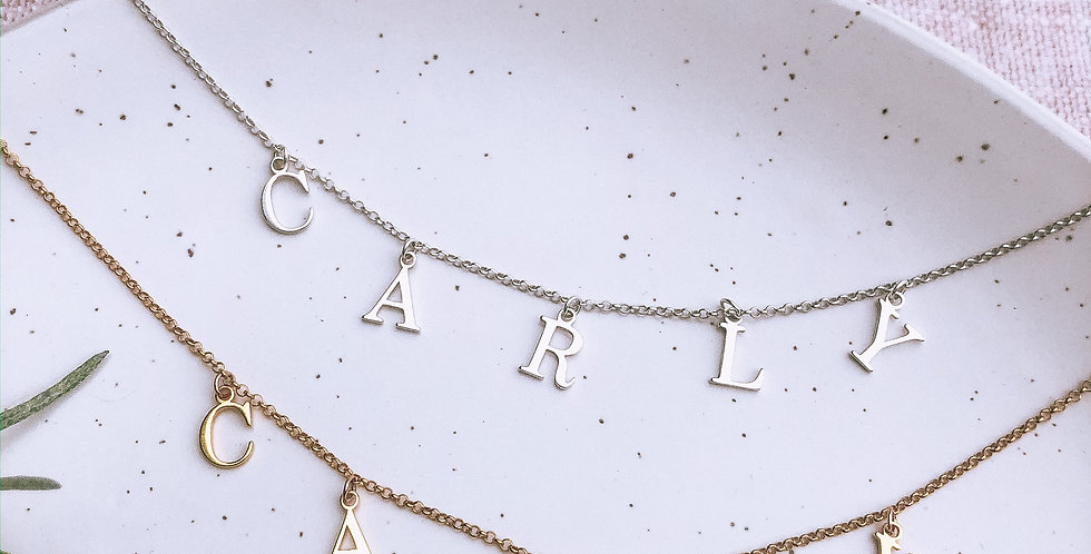 Alphabet Charm Name Necklace