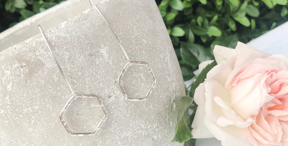 Hammered Sterling Silver Hex Drop Earrings