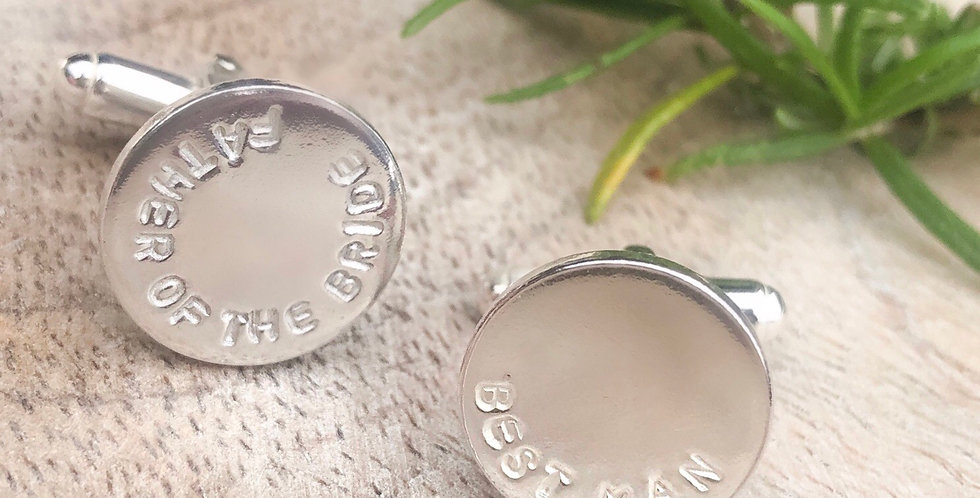 Sterling Silver Personalised 16mm Coin Cufflinks