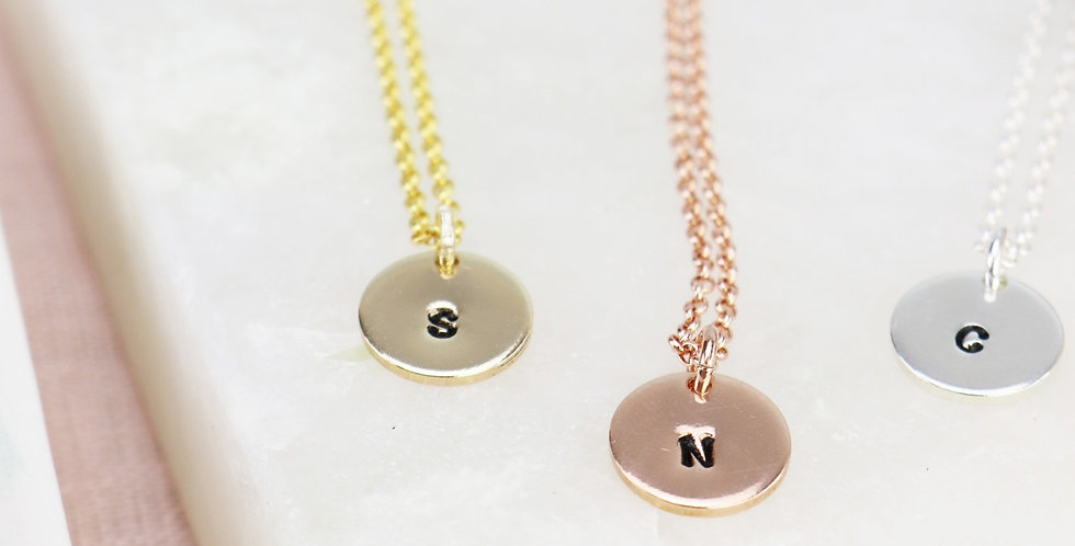 Hand Stamped Mini Disc Initial Necklace