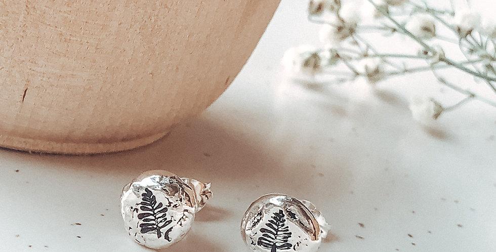 Sterling Silver Hand Stamped Pine Tree Pebble Earrings