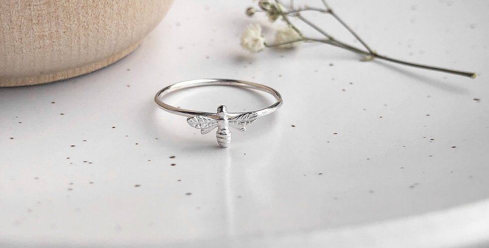 Sterling Silver Honey Bee Stacking Ring