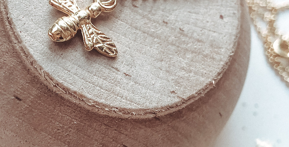 Gold Vermeil Honey Bee Necklace With Hand Stamped Initial Disc Option