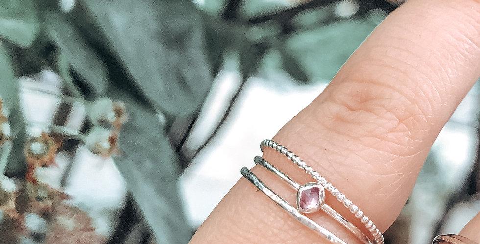 Sterling Silver Skinny Rough Set Gemstone Ring SET OF 3