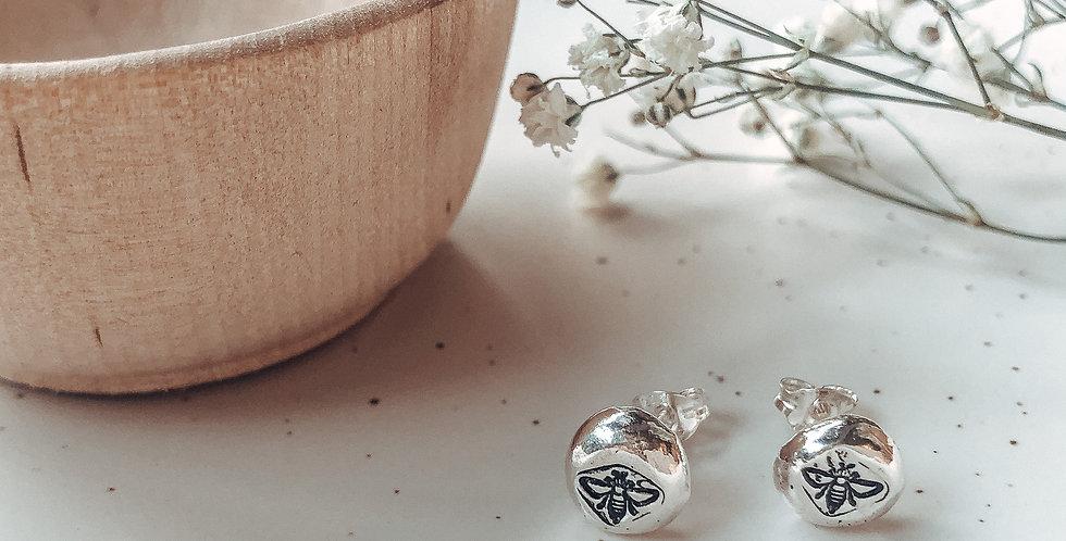 Sterling Silver Hand Stamped Honey Bee Pebble Earrings