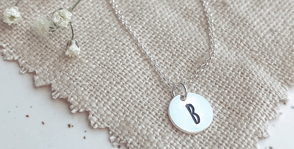 Hand Stamped Mini Solo Disc Personalised Necklace