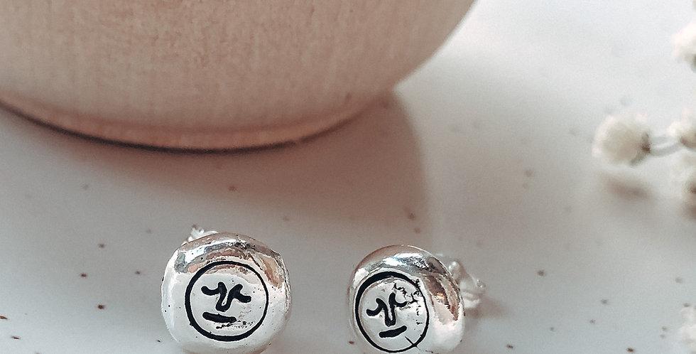 Sterling Silver Hand Stamped Mr Moon Pebble Earrings