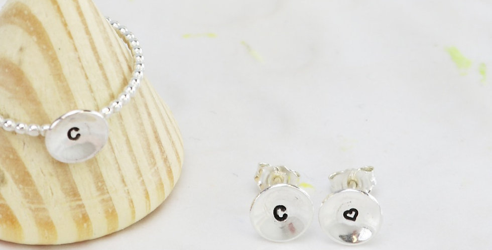 Sterling Silver Domed Disc Initial Earrings