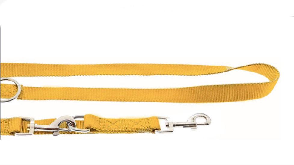Laisse multi-positions en nylon jaune