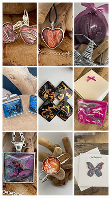 All of my jewellery and gifts are created with love, mainly using acrylic paint pouring techniques making each handmade item a unique gift.