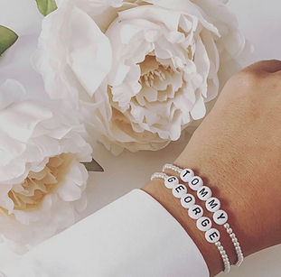 Handmade personalised & gemstone bracelets made with 14k gold filled & sterling silver beads. 5% of all profits goes to the twins trust charity