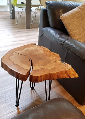 During lockdown I was inspired to get creative with the wood from a fallen tree in our garden. My contemporary furniture pieces are all unique and practical too.