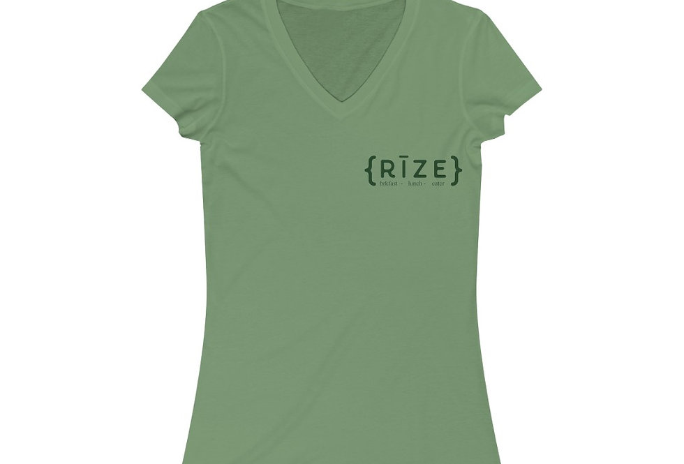 RIZE Women's Jersey Short Sleeve V-Neck Tee (Sizes Run SMALL!)