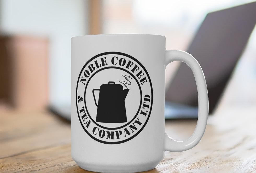 Noble Coffee & Tea White Ceramic Mug 11 oz. or 15 oz. size
