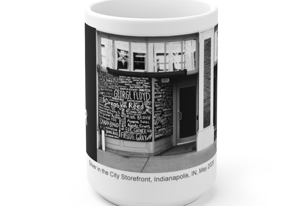 Silver in the City Storefront White Ceramic Mug 11 oz. or 15 oz. size