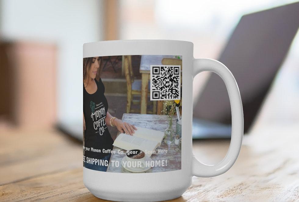 Monon Coffee Co. QR Code Lifestyle White Ceramic Mug