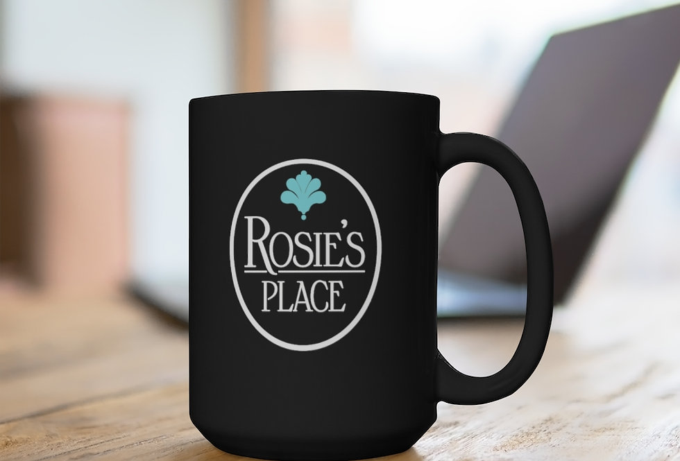 Rosie's Place Black Mug, 15oz