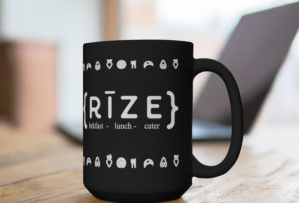 RIZE Logo w/fruit Black Ceramic Mug, 15oz