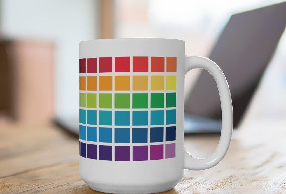Color Block White Ceramic Mug