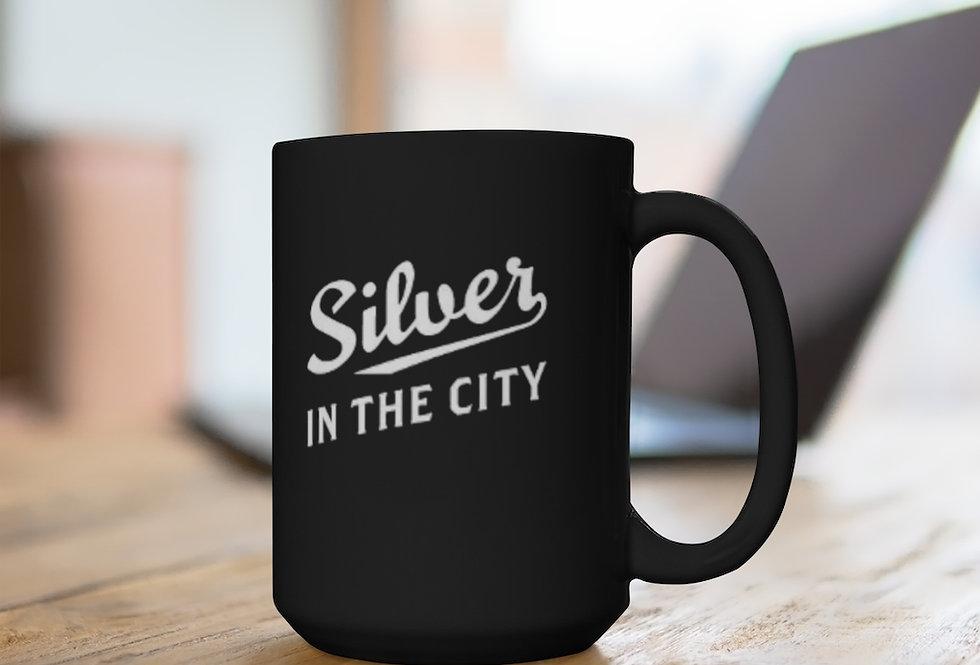 Silver in the City Black Mug, 15oz