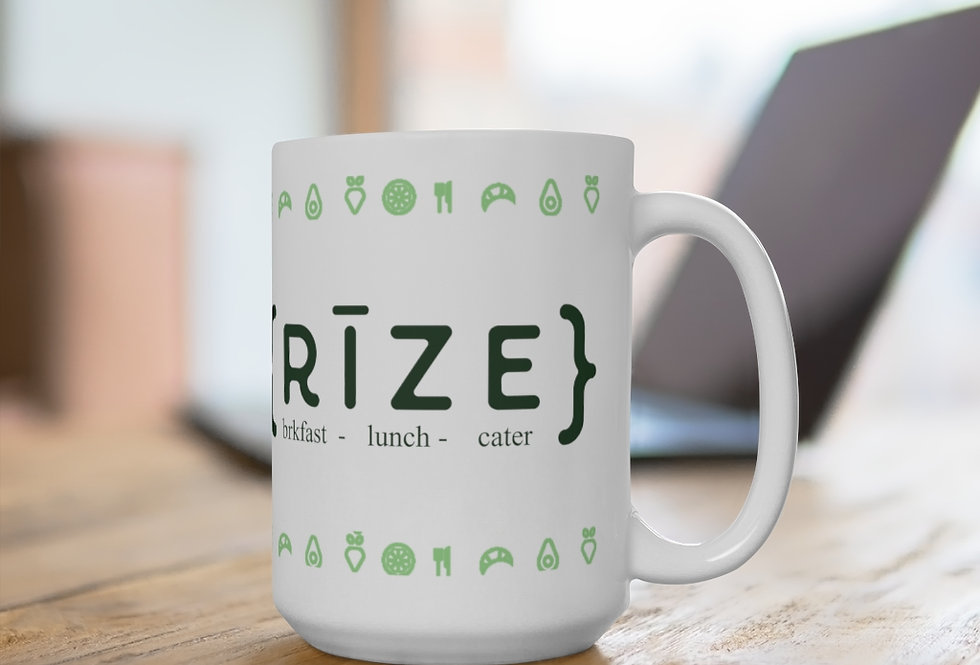 RIZE Logo w/fruit White Ceramic Mug 11 oz. or 15 oz. size
