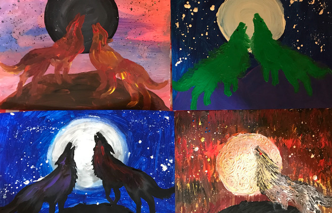 """""""Two Wolves"""" Paintings"""