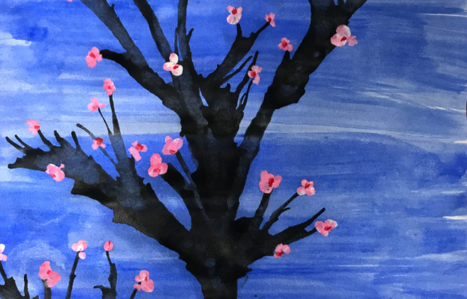 Cherry blossom Tree from blown ink