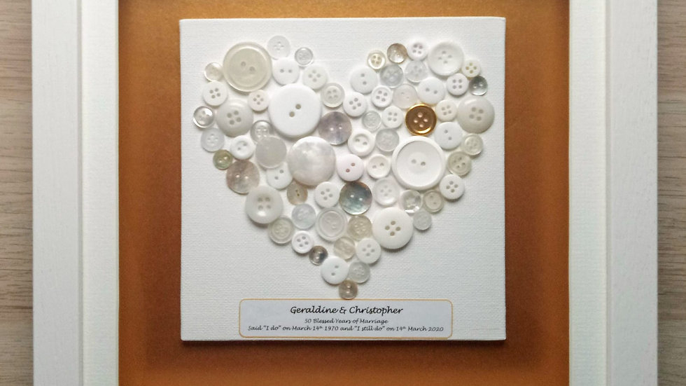 Golden Wedding Anniversary Heart (23x23cm)
