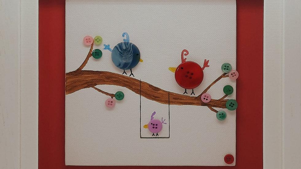 Button Birds with child
