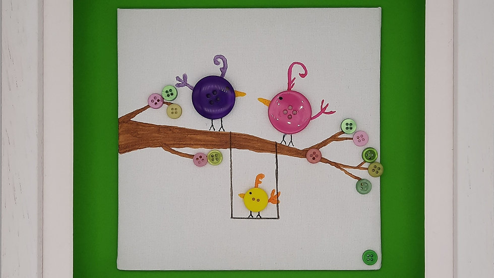 Button Birds with child on Green backing