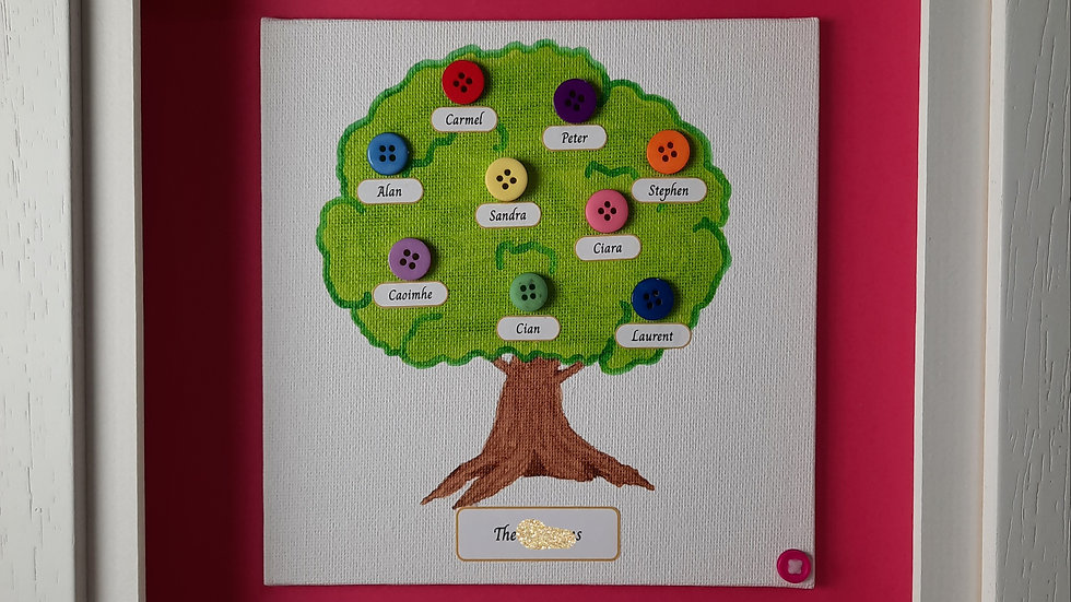 Button Family Tree for up to 10 people