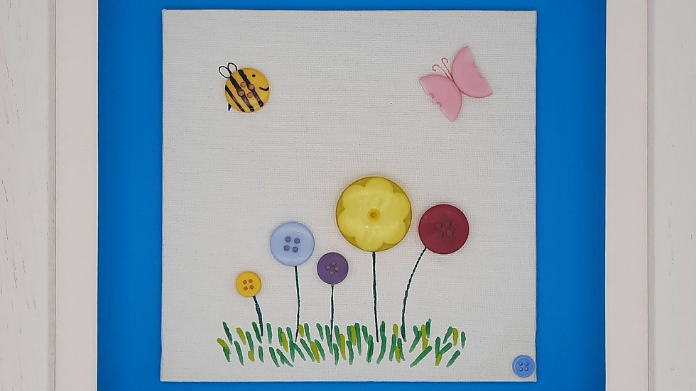 Flowers with bee and butterfly