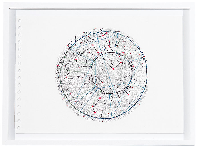 AB14, crayon-couture sur papier, 21x29.5cm, 2014