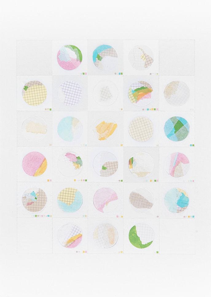 Alphabet x26 code, collage-acrylique sur papier, 46.5x63.5cm, 2015