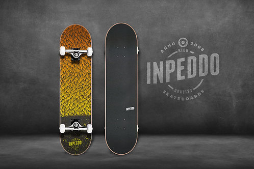 "Inpeddo Basic Feather yellow 7.25"" - Kids Complete Skateboard"