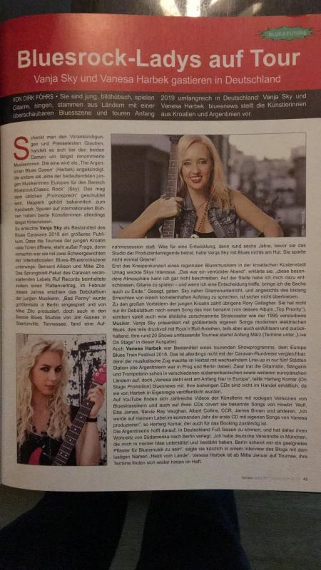 Vanesa Harbek in Blues News Magazine