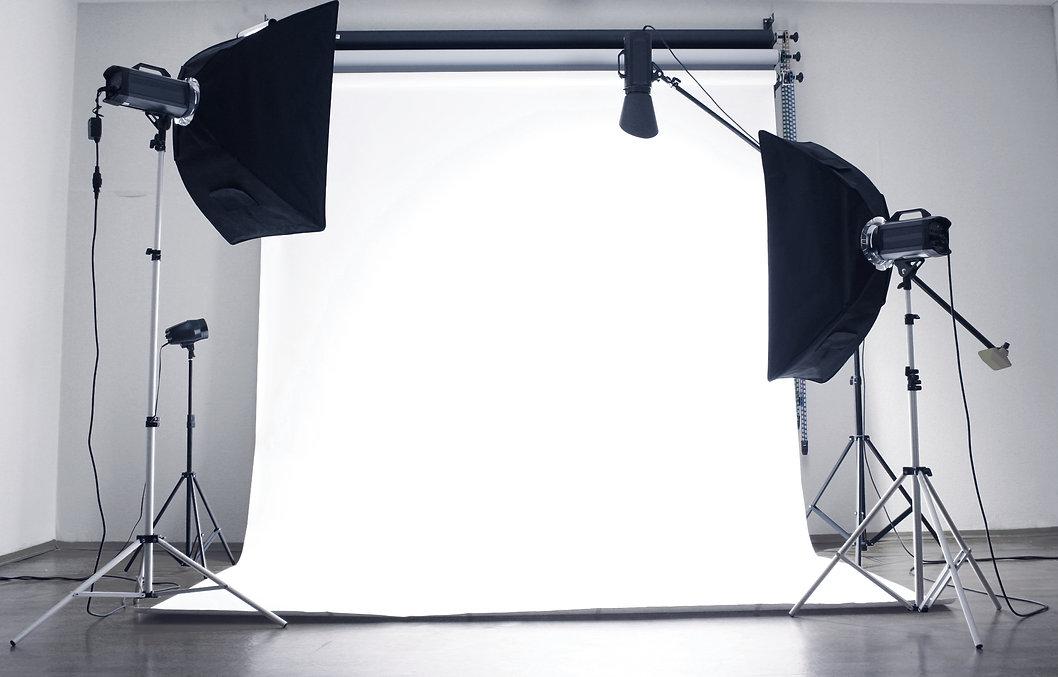 Empty photo studio with  lighting equipm